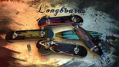 Digital Art - Longboards by Louis Ferreira