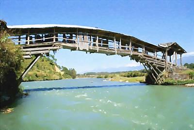 Eco-tourism Painting - Longchuan River Bridges by Lanjee Chee
