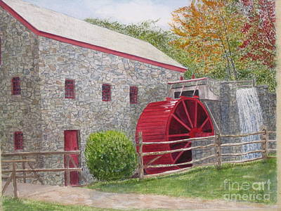 Longfellow's Gristmill Original by Carol Flagg