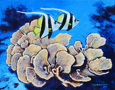 Fish Underwater Painting - Longfin Banner Fish by John Lautermilch