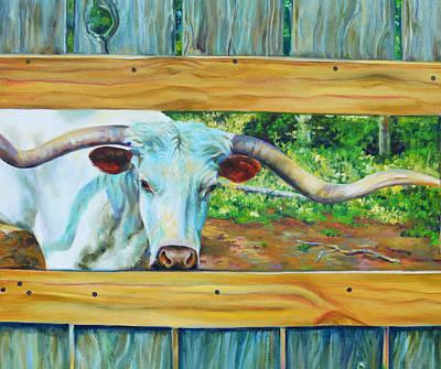 Cattle Painting - Longhorn Blanco by Robert Pankey
