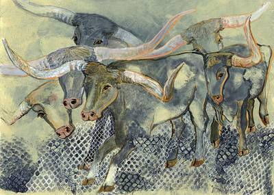 Cattle Drive Drawing - Longhorn Cattle Drive by Dana Spring Parish
