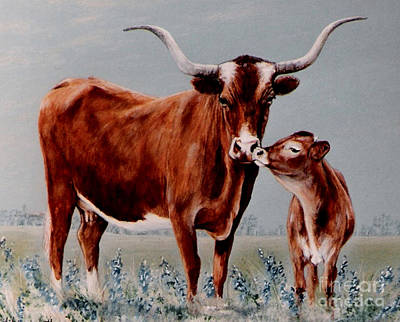 Longhorn Cow And Calf Art Print by DiDi Higginbotham