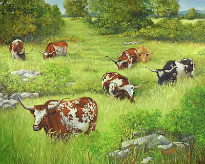 Longhorn Path Art Print by Cheri Wollenberg