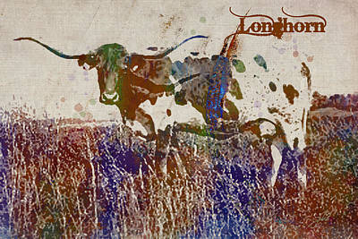 Digital Art - Longhorn by Paulette B Wright