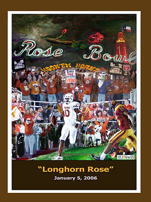 Austin Longhorns Painting - Longhorn Rose by GretchenArt FineArt
