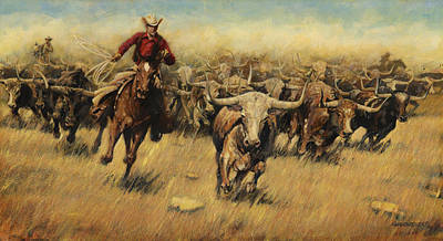 Lassoing Painting - Longhorn Stampede by Don  Langeneckert