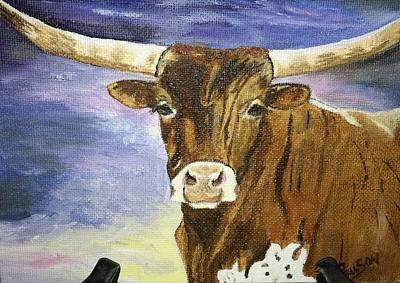 Steer Painting - Longhorn Steer by Peggy Paulson