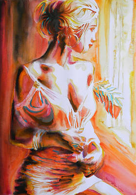 Colored Woman Art Drawing - Longing For You by J- J- Espinoza