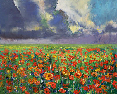 Poppies Field Painting - Longing by Michael Creese