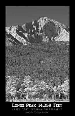 Photograph - Longs Peak 14259 Ft Black And White Poster by James BO Insogna