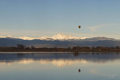 Longs Peak Hot Air Balloon Art Print by Aaron Spong