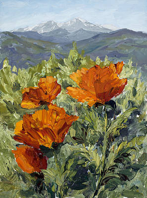 Loveland Painting - Longs Peak Poppies by Mary Giacomini