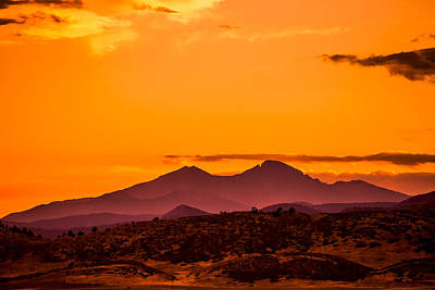 Longs Peak Smoke And Sunset Art Print by Rebecca Adams