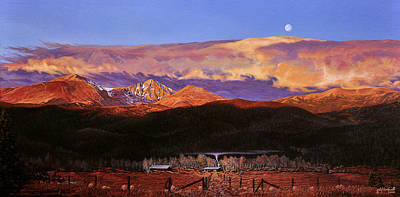 Painting - Longs Peak Sunrise Moonset by Craig T Burgwardt