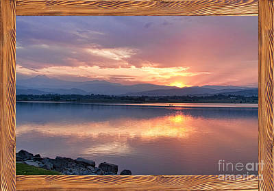 Longs Peak Sunset Reflection Rustic Picture Window Frame Art Art Print by James BO  Insogna