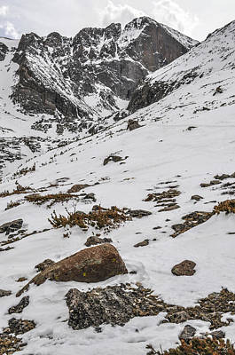Chasm Lake Photograph - Longs Peak -  Vertical by Aaron Spong