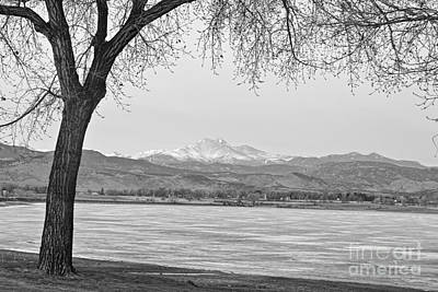 Photograph - Longs Peak Winter View In Black And White by James BO Insogna