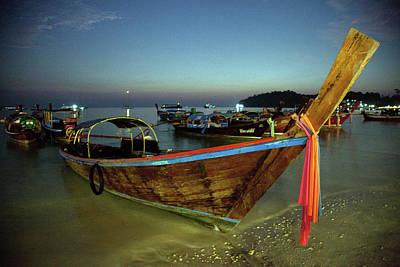 Longtail Wall Art - Photograph - Longtail Boat At Night by John Borthwick