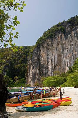 Longtail Wall Art - Photograph - Longtail Boats At Ko Hong Hong Island by Glenn Van Der Knijff