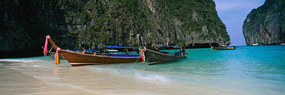 Longtail Boats Moored On The Beach, Ton Art Print by Panoramic Images