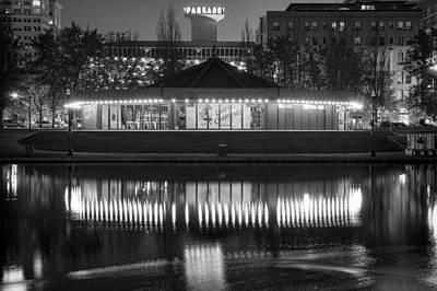 Photograph - Looff Carrousel Reflection Monochrome by Paul DeRocker