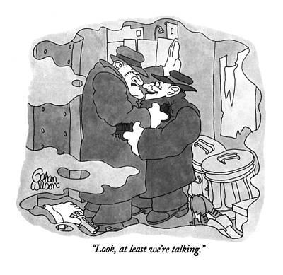 Gangster Drawing - Look, At Least We're Talking by Gahan Wilson