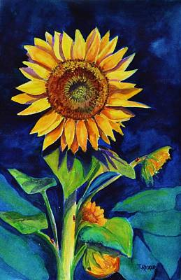 Painting - Midnight Sunflower by Jane Ricker