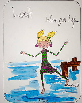 Drawing - Look Before You Leap by Mary Kay De Jesus