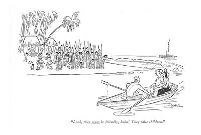 Row Boat Drawing - Look, They Must Be Friendly, John! They Raise by  Alain