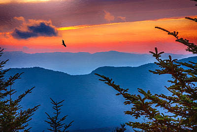 Painting - Look To The Sunset From The Top Of Mount Mitchell by John Haldane