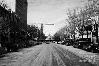 looking along 21st street towards midtown plaza and tower downtown Saskatoon Saskatchewan Canada Art Print by Joe Fox