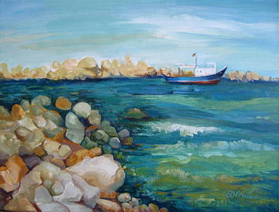 Moody Painting - Looking At The Sea by Elena Oleniuc