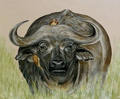 Cape Buffalo Painting - Looking At You by Lorna Loxton