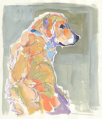 Golden Doodle Painting - Looking Back by Kimberly Santini