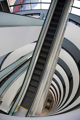 Photograph - Looking Down At Grey Escalator And by Barry Winiker