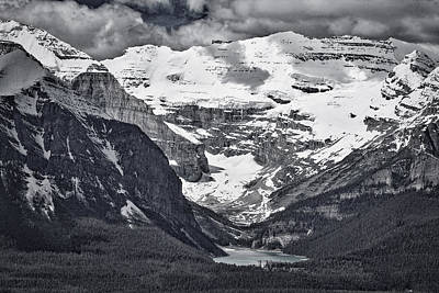 Photograph - Looking Down At Lake Louise - Black And White #2 by Stuart Litoff