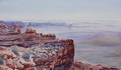 Bluff Painting - Looking Down From Moki Dugway by Jenny Armitage