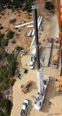 Looking Down On Dissembling A Crane... Print by Chris Martin