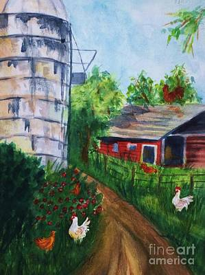 Painting - Looking Down On The Farm by Ellen Levinson