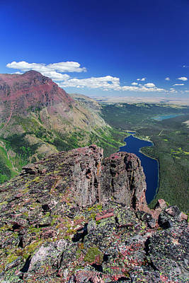 Diving Board Photograph - Looking Down Onto Two Medicine Lake by Chuck Haney