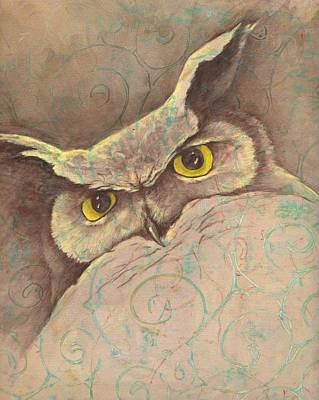 Great Horned Owl Drawing - Looking Down by Sara Bell