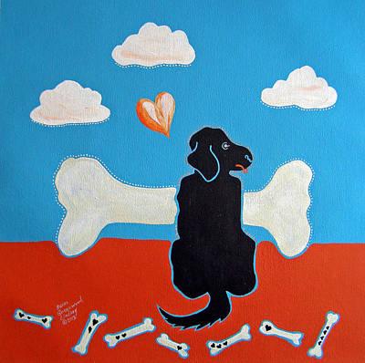 Kids Bones Painting - Looking For A Better Bone II by Susan Greenwood Lindsay