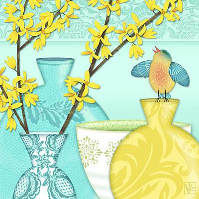 Folk Art Mixed Media - Looking For Spring by Valerie Drake Lesiak