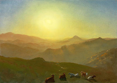 Brilliant Painting - Looking From The Shade On Clay Hill .sunset Clay Street Hill San Francisco by Albert Bierstadt