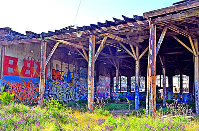Photograph - Looking Inside The Old Train Roundhouse At Bayshore Near San Francisco And The Cow Palace II  by Jim Fitzpatrick