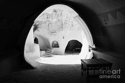 looking out from one of the caves at the Sidi Driss Hotel underground at Matmata Tunisia scene of Star Wars films Art Print