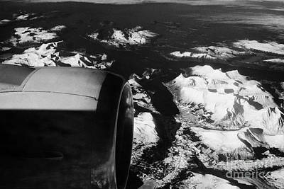 Looking Out Of Aircraft Window Past Engine And Over Snow Covered Fjords And Coastline Of Norway Euro Art Print by Joe Fox