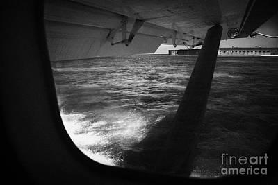 Looking Out Of Seaplane Window Landing On The Water Next To Fort Jefferson Garden Key Dry Tortugas F Art Print by Joe Fox