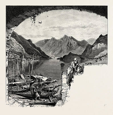 Lake Como Drawing - Looking South From Bellagio, Como, The Italian Lakes by Italian School
